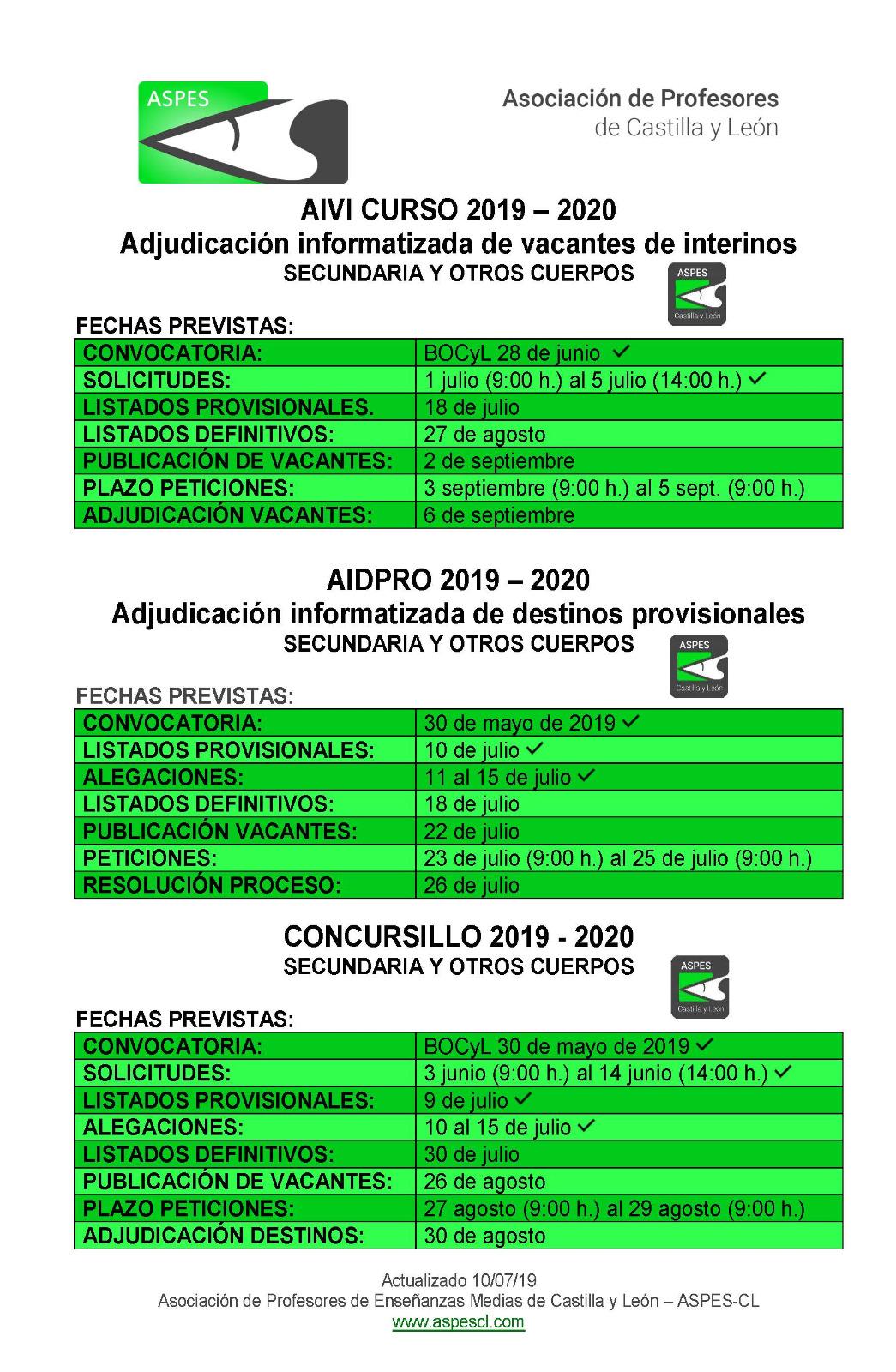 Calendario Julio Y Agosto 2020.Calendario Previsto Aivi Aidpro A Concursillo 2019 2020